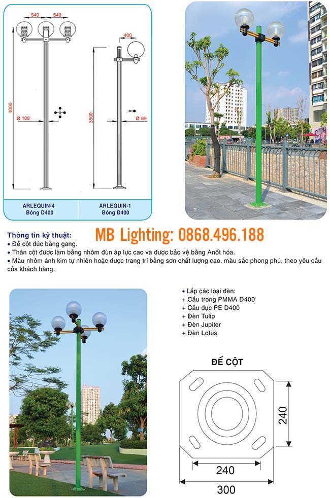Thông số kỹ thuật Cột đèn sân vườn Arlequin