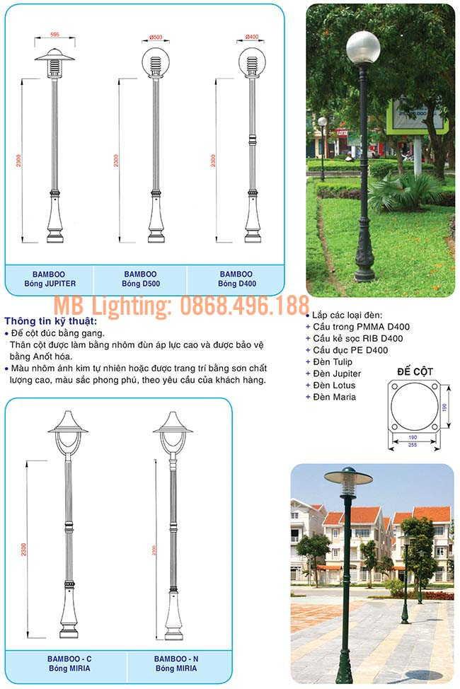 Thông số kỹ thuật Cột đèn sân vườn bamboo cột sân vườn bamboo