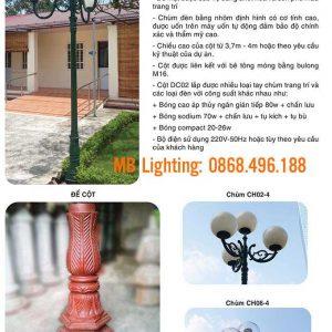 Thông số kỹ thuật Cột sân vườn DC02, Cột đèn trang trí sân vườn đế gang DC02