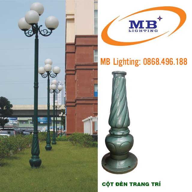 Cột sân vườn Banian, Cột đèn trang trí sân vườn đế gang Banian