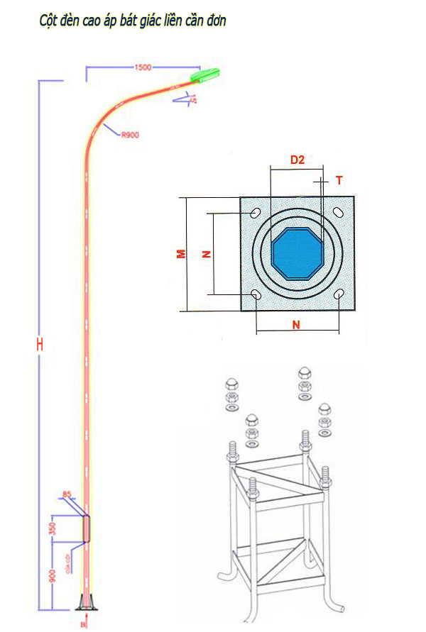 Bản vẽ cột đèn cao áp bát giác liền cần đơn