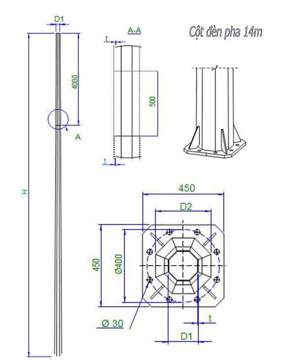 Cột đèn pha cao áp 14m