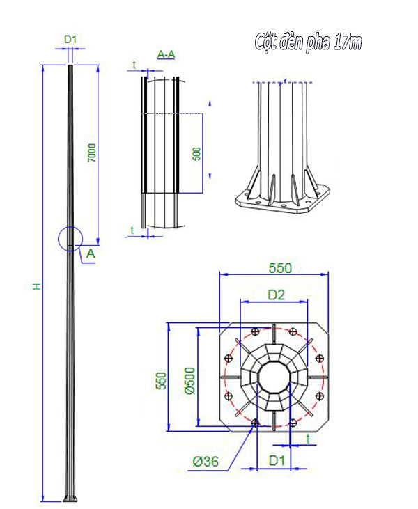 Cột đèn pha cao áp 17m