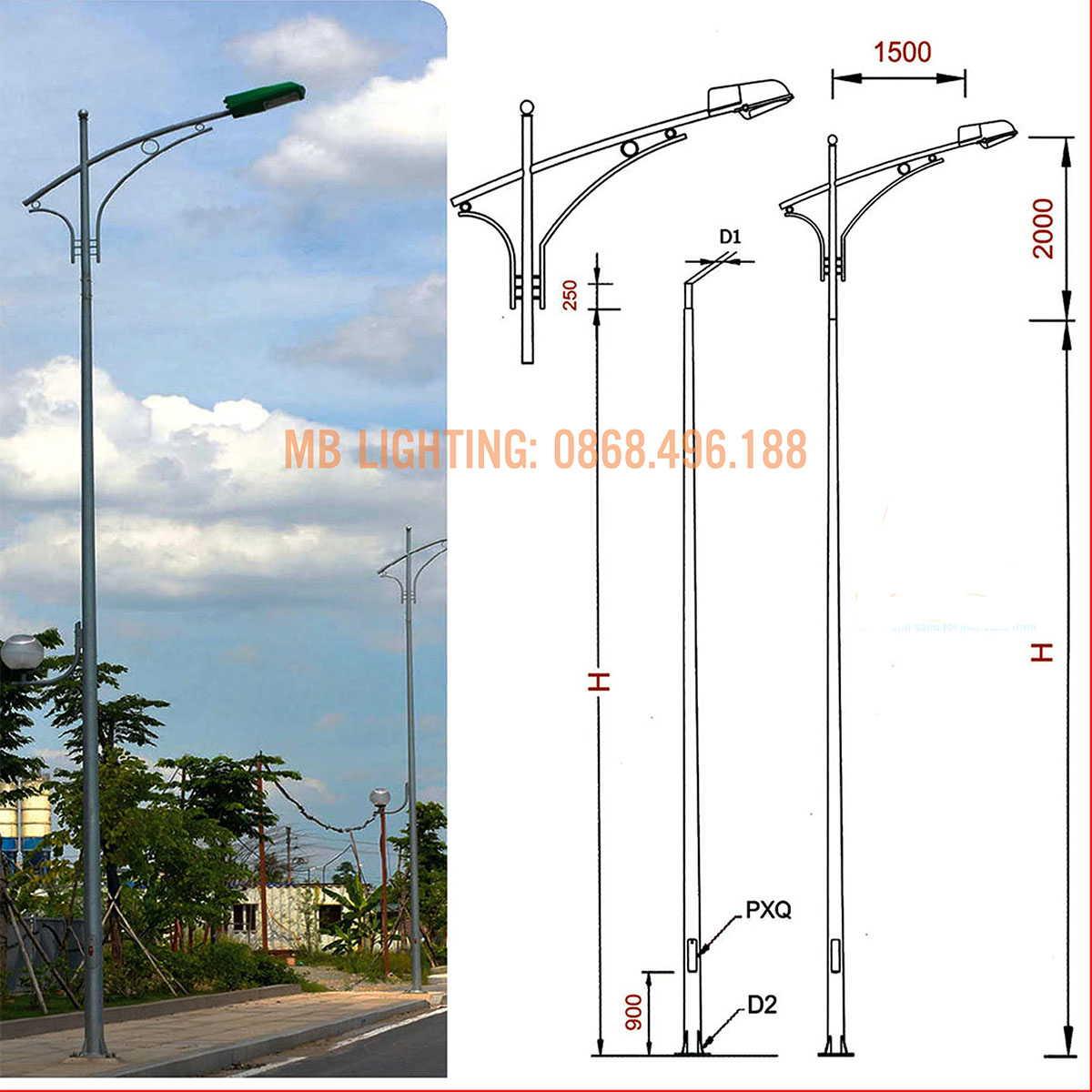 Cột đèn chiếu sáng liền cần - cột tròn côn mạ kẽm cao 7m, 8m, 9m,11-12m