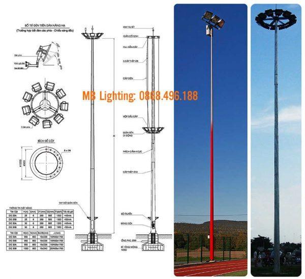 Cột đèn nâng hạ 25m được thi công và lắp đặt bởi MB Lighting