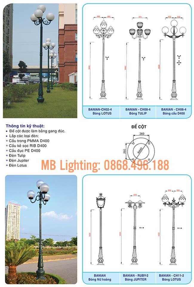 Thông số kỹ thuật Cột sân vườn Banian, Cột đèn trang trí sân vườn đế gang Banian