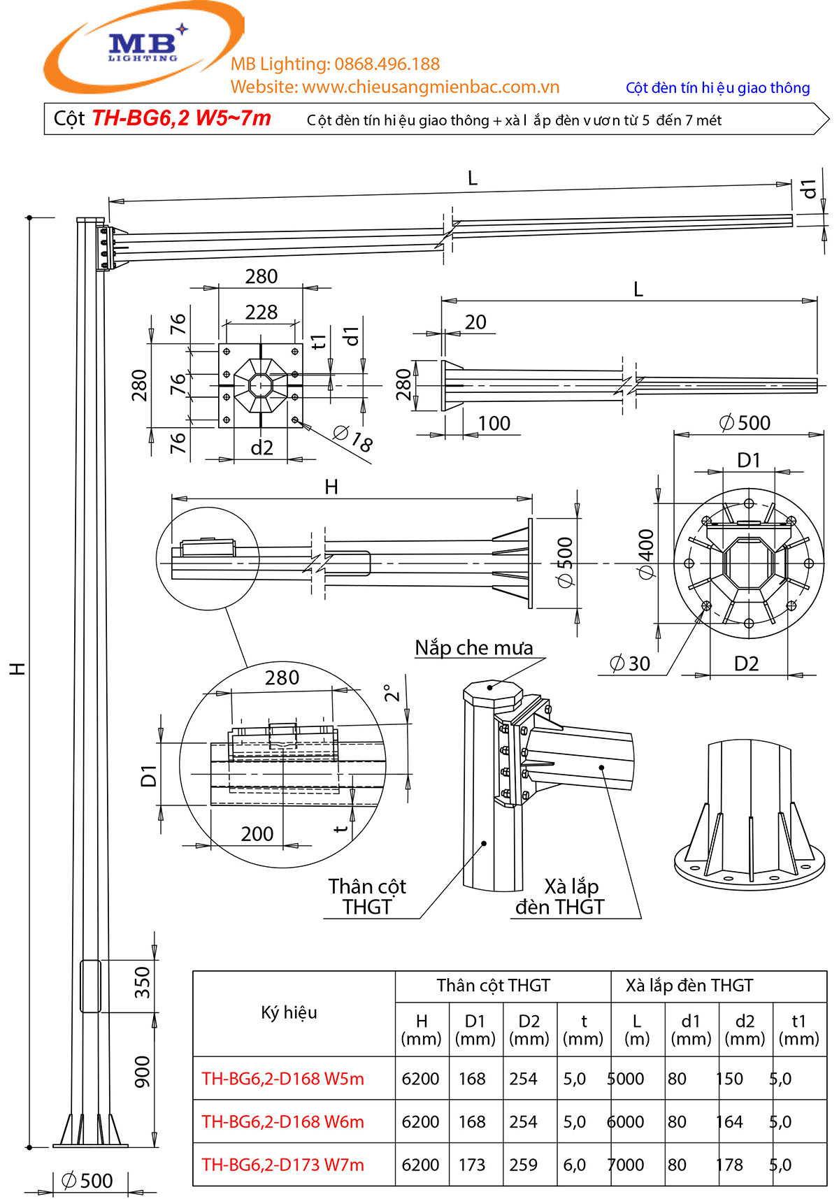 Bản vẽ thiết kế cột đèn tín hiệu giao thông mẫu 2