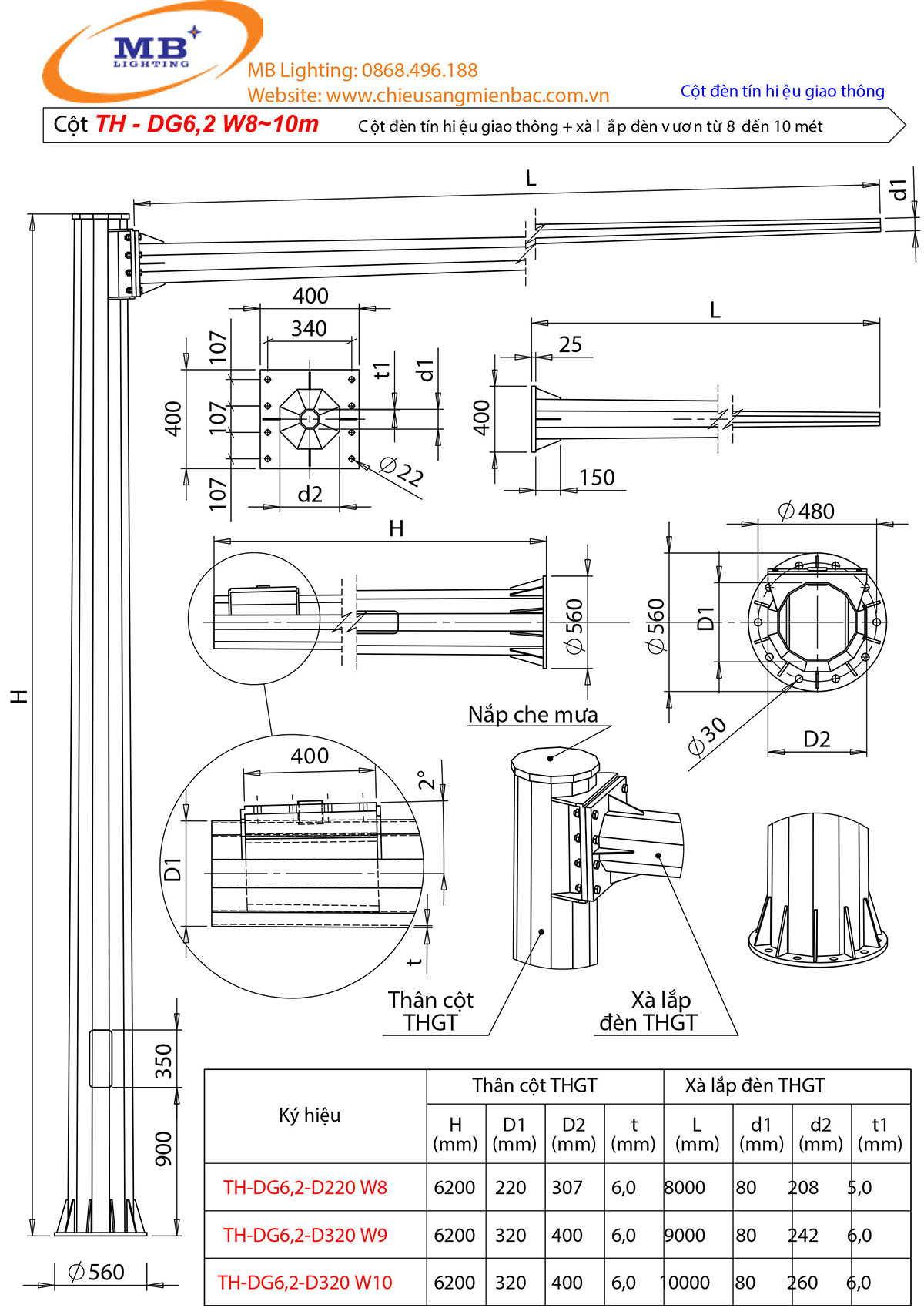 Bản vẽ thiết kế cột đèn tín hiệu giao thông mẫu 3