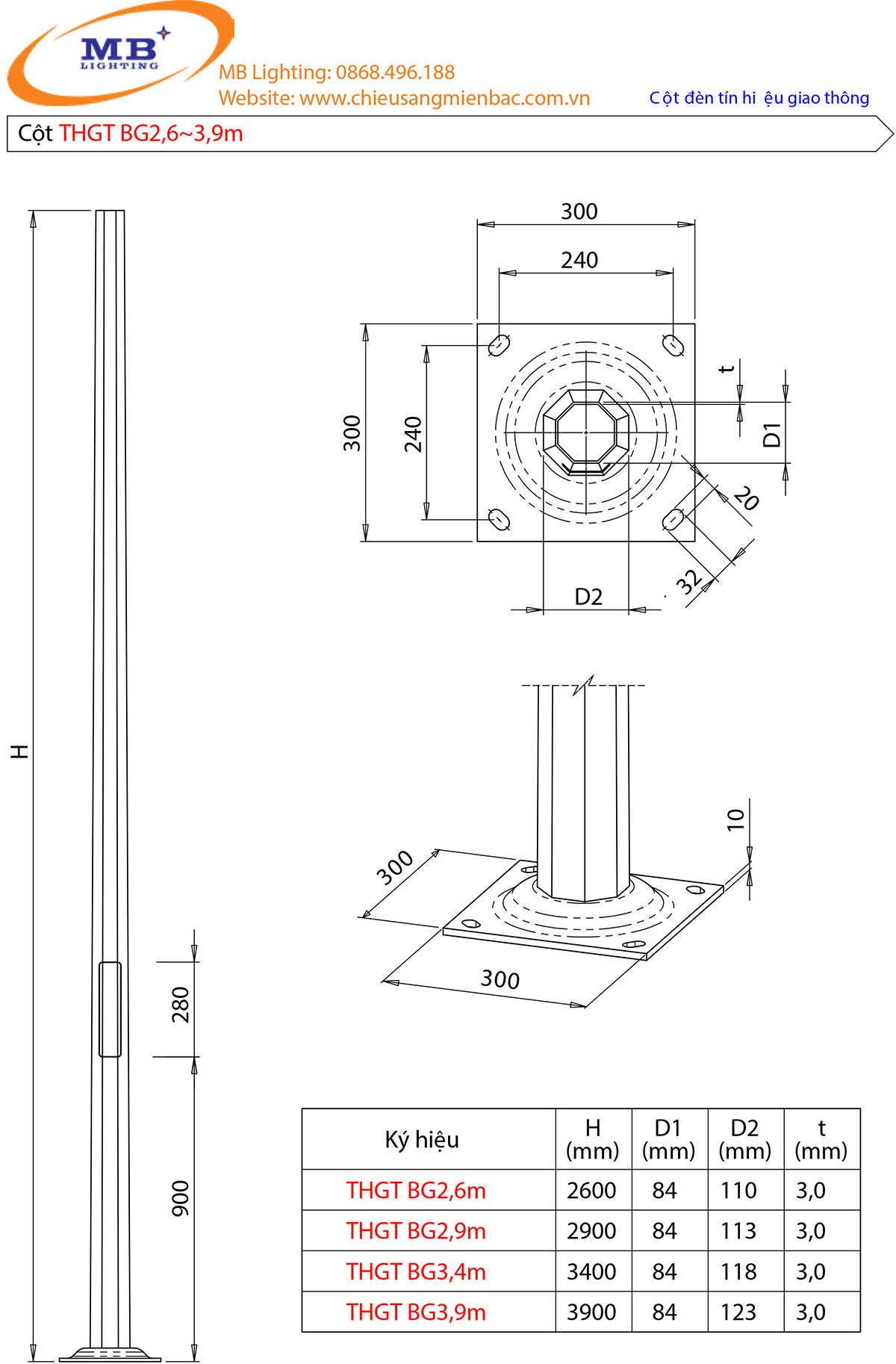 Bản vẽ thiết kế cột đèn tín hiệu giao thông mẫu 4