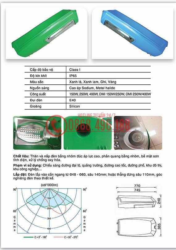 Thông số kỹ thuật của Chóa đèn cao áp Delta