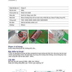 Thông số kỹ thuật của Chóa đèn cao áp Gamma