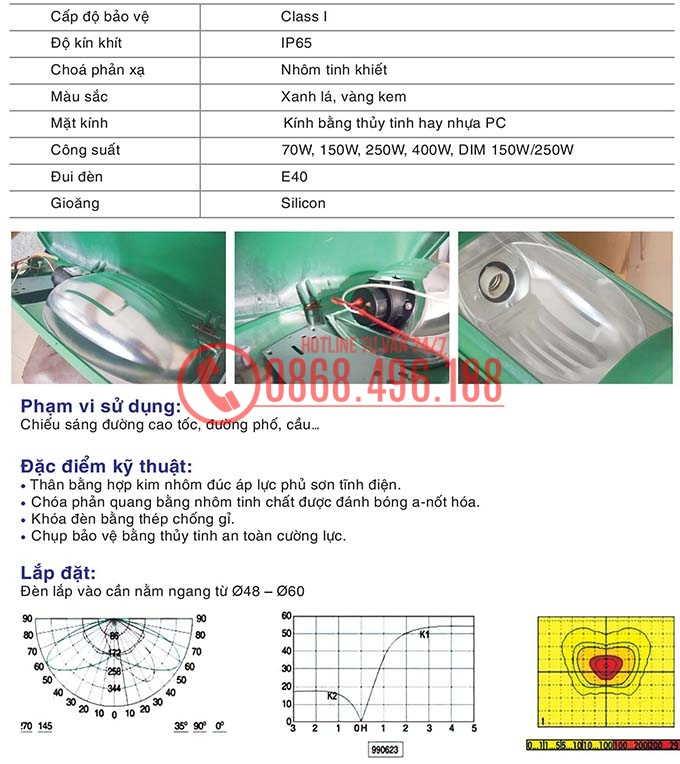 Thông số kỹ thuật của Chóa đèn cao áp Zeta hay còn được gọi với cái tên chóa đèn Neptune